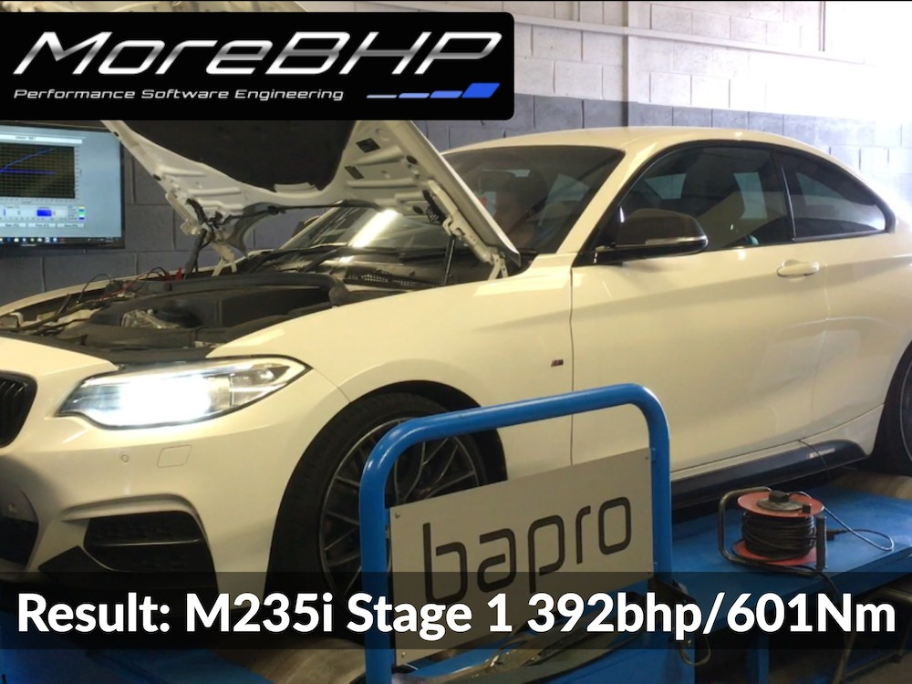 An M235i remap on the rolling road at MoreBHP. Results 392bhp and 601Nm torque.