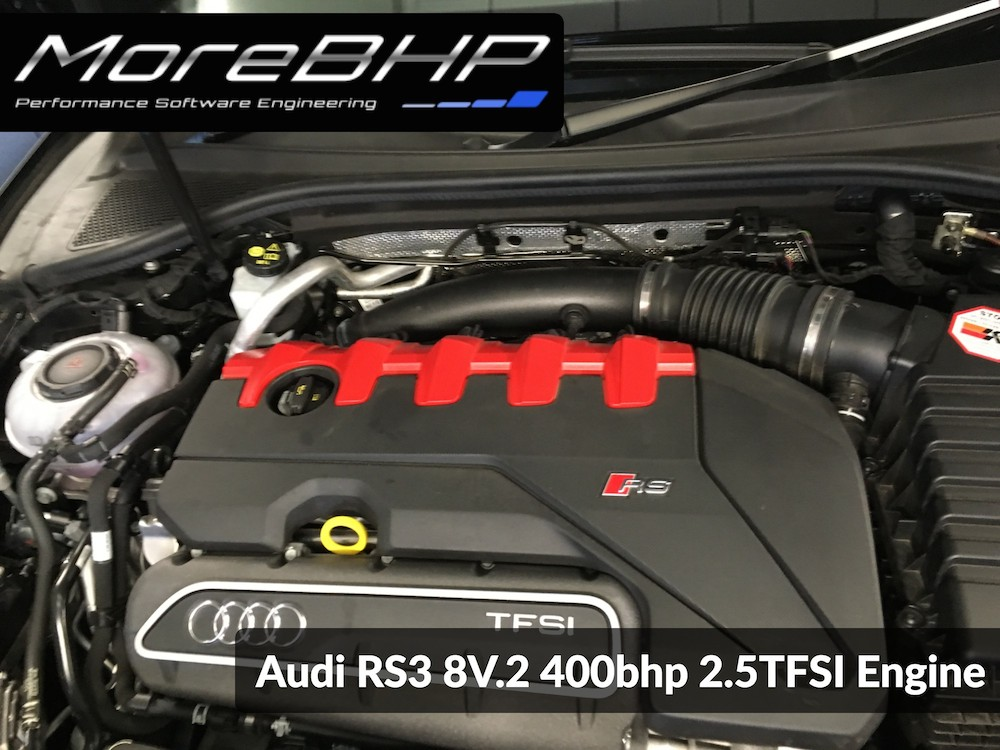 An Audi RS3 engine bay photo taken at MoreBHP during a remap.
