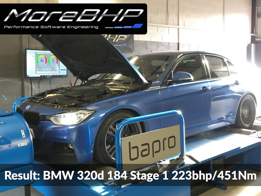A picture showing a Blue F-Series BMW 320d 184 being remapped on the rolling road at MoreBHP in Crewe, results of the remap are shown as 223bhp and 451Nm of torque.