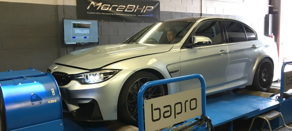 BMW M3 Competition being remapped on the rolling road at MoreBHP