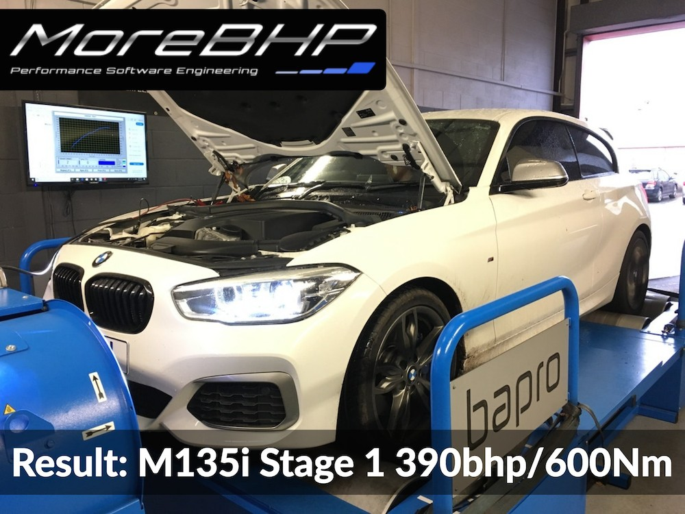 An M135i remapped on the rolling road at MoreBHP in Crewe making 390bhp and 600Nm torque.